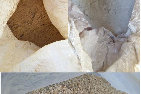 suministro en sacos de arcilla, cal y paja triturada