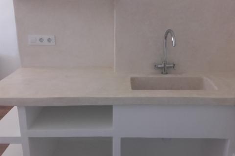 encimera, pica y mural cocina